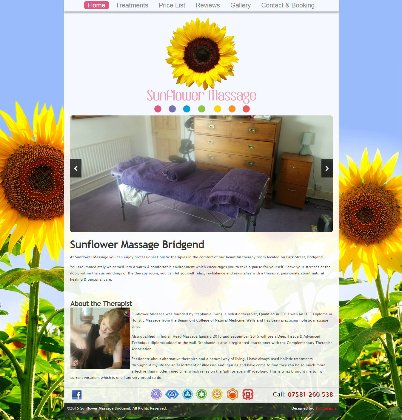 Sunflower Massage Website Home Screen